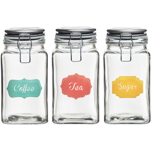Rise and Shine Stainless Steel Lid Hermetic Preserving Jar, 52 oz, Set of 3