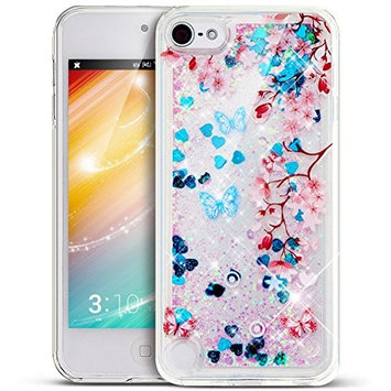 UCLL Iphone 7 Case, Cute Bear Flower Design Liquid Bling Glitter Solf Case for 4.7 inch Iphone 7 with a free Screen Protector Ultra Slim Floating Luxury Gold rose Case