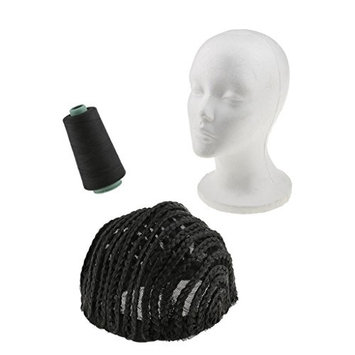 Dovewill Hair Extension Sewing Weaving Thread Spool Black + Wig Making Braid Cornrow Cap + Female Foam Mannequin Head Set