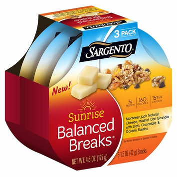 Sargento Foods Sunrise Balanced Breaks with Monterey Jack Cheese, Walnut Oat Granola with Dark Chocolate, and Golden Raisins, 4.5 oz (Pack of 3)