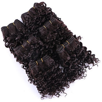 Short Curly Hair Weave 6 Bundles 8 Inches Color 2 Heat Resistant Fiber Human Made Synthetic Hair Extensions (Pack Of 6)