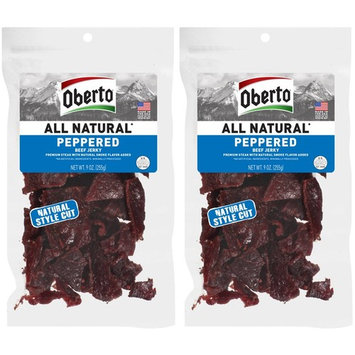 Oberto All-Natural Peppered Beef Jerky, 9 Ounce (Pack of 2)