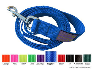 Walk Your Dog With Love Unique Wide Handled Dog Lead Leashes, Sport Edition, 4 Versatile Styles, Sapphire Blue
