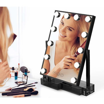 Hollywood Lighted Vanity Makeup Mirror,Light-up Professional Mirror with storage,Multiple Color Modes, Large Cosmetic Mirror with 12 Dimmable Bulbs for Dressing Table