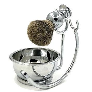 Professional Mens Shaving Stand Razor Brush Stand + Genuine Badger Hair Shaving brush + Perfect Stainless Steel Heavy Shaving Soap Bowl for Double Edge Safety Razor or Multi Blade Razor