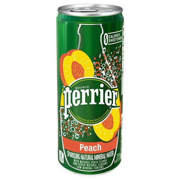 Perrier Peach Flavored Carbonated Mineral Water, 8.45 fl oz. Slim Cans (30 Count)