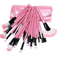 Xiaoyu 32PCS Mini Professional Cosmetic Makeup Brush Set Kit with Synthetic Leather Case - Pink