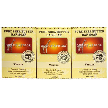 Out of Africa, Pure Shea Butter Bar Soap, Vanilla, 3 Pack, 4 oz (120 g) Each [Scent : Vanilla]