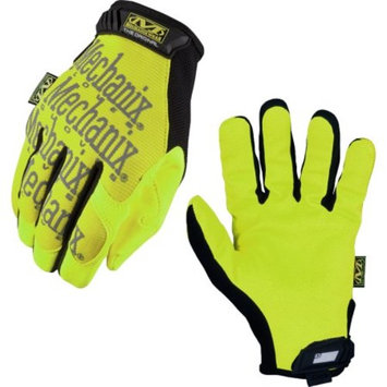 Mechanix Wear Medium Hi-Viz Yellow Safety Original Full Finger Synthetic Leather Mechanics Gloves With Hook And Loop Cuff, Clarino Synthetic Leather Padded Palm, Reinforcement Panels And 3M S