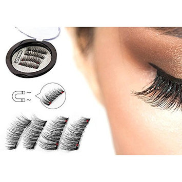 Full Size Dual Magnetic False Eyelashes Set (4 pieces) - Handmade 3D Fake Magnetic Lashes Extension - Best Reusable and Easy to Apply Ultra Thin Dual Magnet System - Soft & Comfortable