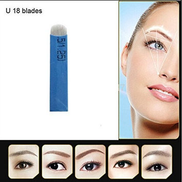 100pcs Permanent Makeup Needle Manual Eyebrow Tattoo Micro blade 18 U Sloped Needles