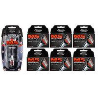 Personna M5 Magnum 5 Razor with Trimmer + M5 Magnum 5 Refill Razor Blade Cartridges, 4 ct. (Pack of 6) + FREE Assorted Purse Kit/Cosmetic Bag Bonus Gift