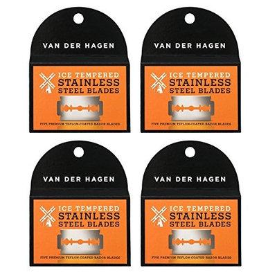 Van Der Hagen Stainless Steel Double Edge Razor Blades 5 Blades (Pack of 4) + FREE Assorted Purse Kit/Cosmetic Bag Bonus Gift