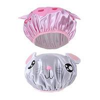 Children Shower Cap, 2 PCS Cute Waterproof Double Layer Kids Cartoon Shower Bath Hat