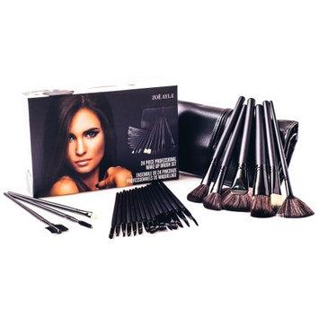 Zoe Ayla 24-Piece Professional Make-Up Brush Set with Handy Vegan Leather Travel Case - Black