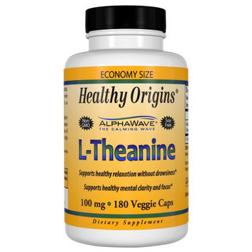 Healthy Origins L-Theanine 100 mg (AlphaWave), 180 Veggie Capsules