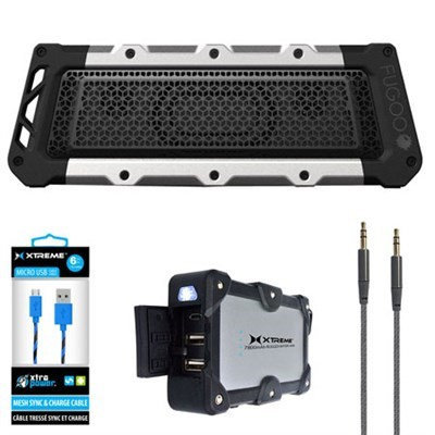 Fugoo Tough XL Port. Waterproof B.tooth Speaker Silver/B w/ Power Bank Charger Bundle