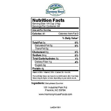 Harmony House Foods, Dried Zucchini, Diced (38 Ounce Gallon Size Jug) - Set of 2