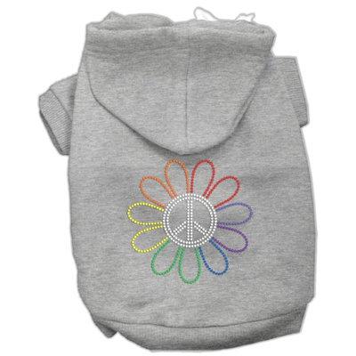 Mirage Pet Products 5469 XSGY Rhinestone Rainbow Flower Peace Sign Hoodie Grey XS 8