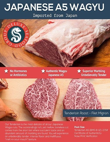 Deluxe Seafood Group A-5 Japanese Wagyu Beef Tenderloin (12LB Loin)