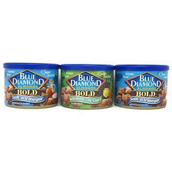 Variety Pack - Blue Diamond Bold Almonds (6 Oz) - (2X) Salt & Vinegar, Wasabi & Soy Sauce