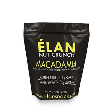 ELAN Maple Coconut Macadamia Nut Mix, Lightly Salted, Dry Roasted, Buttery Granola Cereal Styled Healthy Snack, Paleo Low Carb Keto Friendly (9.5 Ounce Resealable Bag)