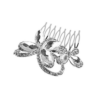 Tinksky Crysral Rhinestone Butterfly Hair Comb Clip Pin Silver Hair Barrette
