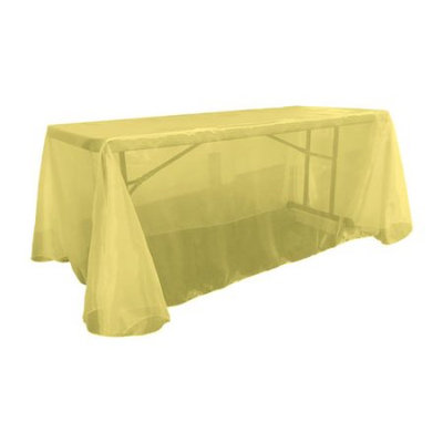 La Linen Sheer Mirror Organza Rectangular Tablecloth Color: Light Yellow