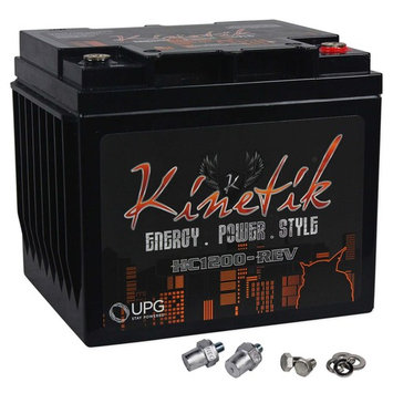 Kinetik HC1200-REV 1200 Watt 12V Car Battery/Power Cell High Current AGM
