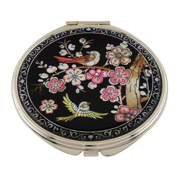 Mother of Pearl Pink Korean Plum Flower Tree and Bird Design Double Compact Magnifying Purse Mirror