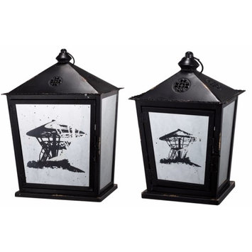 A & B Home Beautifully shaped Metal Candle Lanterns, Set of Two, Black
