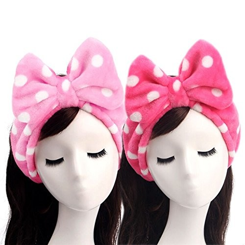 Lovely Headband,Makeup Headbands,2 Pieces Flannel Bowknot Mask Hairband Wash Face Towel Hair Band for Hair Accessories(Red White Polka Dot + Pink White Polka Dot)