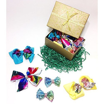 Sparkly Sequin & Rhinestone Fancy Hair Bow Clips Gift Set for Girls (Turquoise, Yellow, White & Tie Dye)