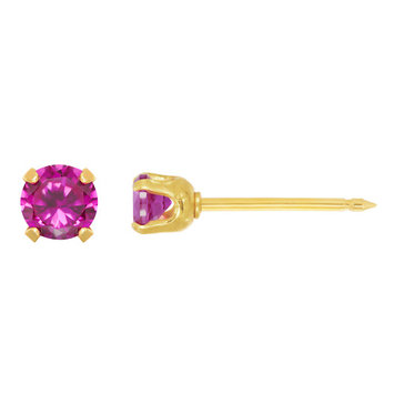 Home Ear Piercing Kit with a 14KT 3MM July Created Ruby Earring