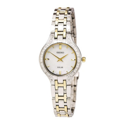 Seiko SUP335 Women's Core Solar White MOP Dial Two Tone Bracelet Power Reserve Diamond Watch