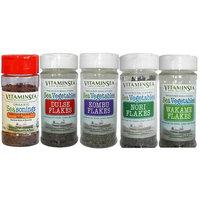 Organic Maine Seaweed Dulse Kombu - Wakame Nori and Triple flakes 5/1 oz Shakers USDA Certified and Kosher Hand Harvested Atlantic Ocean Coast Vegan Raw Wild Sea Vegetables VitaminSea (5pk shakers)