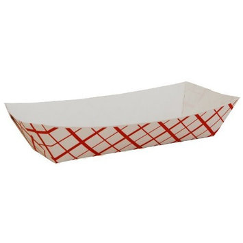 Southern Champion Tray 07091 Paperboard Red Check Hot Dog Tray, 7