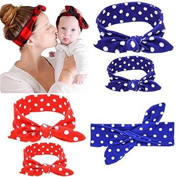 2Pcs Mother and Daughter Matching Headband Set Dot Print Fashion Hair Band