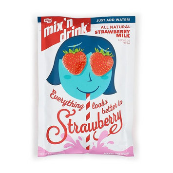 SACO Mix 'n Drink Instant Strawberry Milk, Fat-Free, Gluten-Free, GMO-Free, Low-Sugar, with Vitamins A and D, Makes 1 Quart, 6 Pack