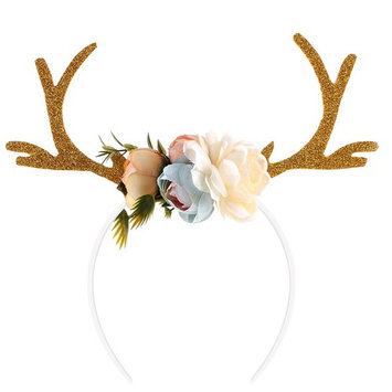 OULII Funny Deer Antler Headband with Flowers Blossom Novelty Hair Band Christmas Fancy Dress Costumes Accessory (Khaki)