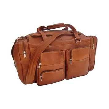 Leather Duffel Bag w 3 Half-Moon Zip-Pockets in Front in Saddle