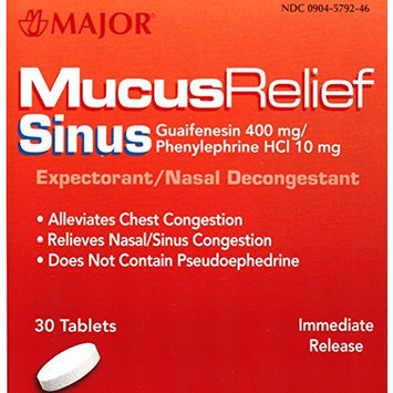 Mucus Relief PE Guaifenesin 400 mg Expectorant and Phenylephrine 10 mg Nasal Decongestant Generic for Mucinex Sinus Tablets 30 ea. Per Bottle Pack of 6 Total 180 Tablets