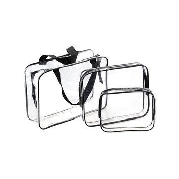 BeeChamp 3pcs Clear PVC Waterproof Travel Toiletry Zipper Bags Cosmetic Shower Organizer