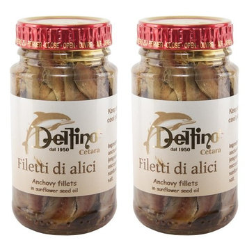 Delfino - Italian Anchovy Fillets in Sunflower seed Oil with Truffle - 4.58oz 140g) [4.58oz (140g) - 2 pack]
