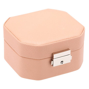 LANGRIA Octagonal Embossed Lychee Grain Faux Leather Jewelry Box Lockable Makeup Storage Case Organizer with Lift-Up Lid, Lift-Out Tray and Mirror