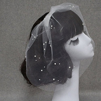 TAKIYA Bride Short Wedding Veil Crystal Studio Modelling Veil,One Size (#2)