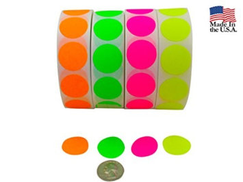 Idealseal Color Coding Labels Super Bright Fluorescent Neon Yellow, Green, Orange & Pink Round Circle Dots For Organizing Inventory 1