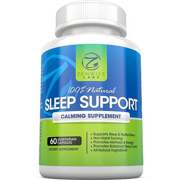 All Natural Sleeping Aid - Nighttime Sleep Support Supplement - With 100 MG 5 HTP + Magnesium to Fall Asleep Fast - Chamomile & Melatonin for a Calm & Restful Night - Non Habit Forming - 60 Capsules [60 Capsules]