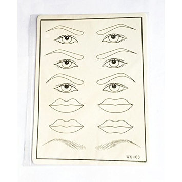 Cosmetic Permanent Makeup Eyebrow, Eye, Synthetic Eye and Lip Tattoo Practice Skin 1 Pc