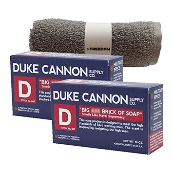 Duke Cannon Mens Bar Soap Multi-pack and Freedom Washcloth - 2 Big American Bricks Of Smells Like Supremacy Soap By Duke Cannon